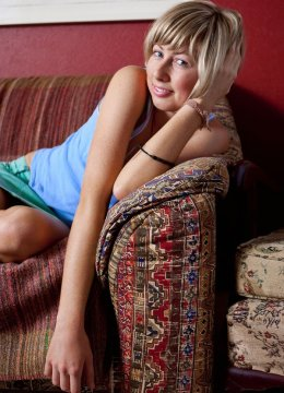 Waifish young blonde Melissa frolicking in her panties and nude